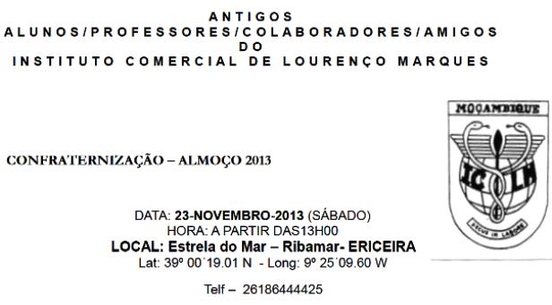 Almoço convívio do Instituto Comercial L. Marques (ICLM) - 23 de Novembro de 2013