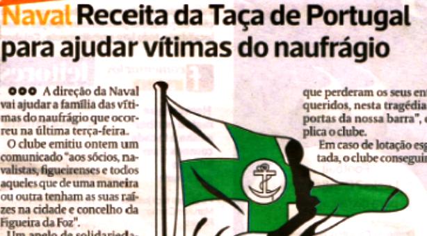 Receita da Taça de Portugal para ajudar vítimas do naufrágio - Lérias & Lábias de Paulo Craveiro