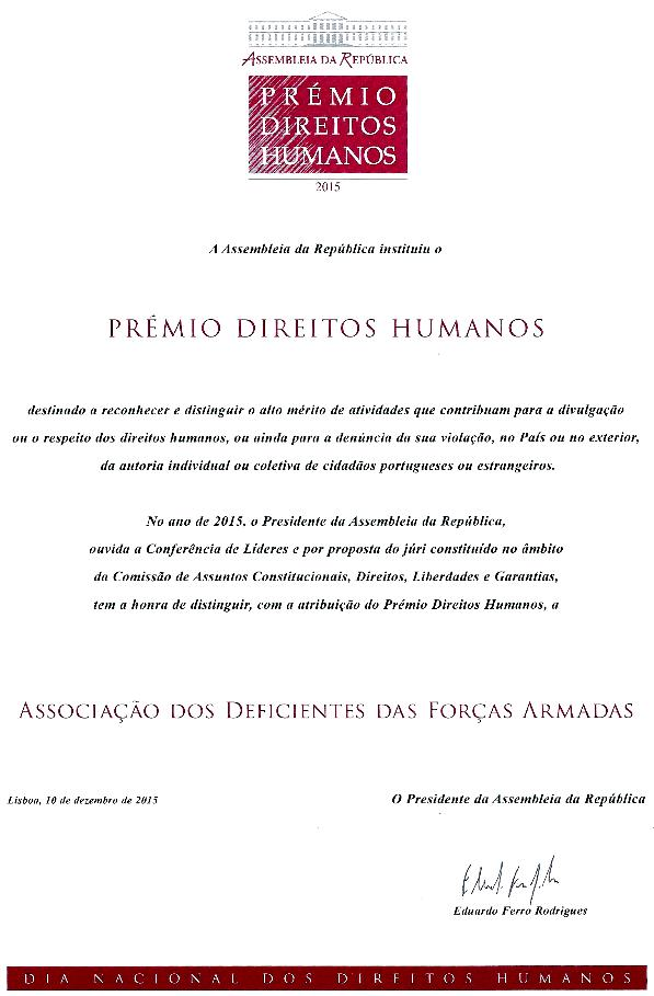 Diploma Prémio Direitos Humanos 2015