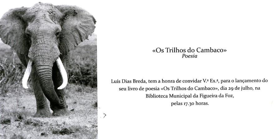Convite: Lançamento do livro de poesia de Luís Breda